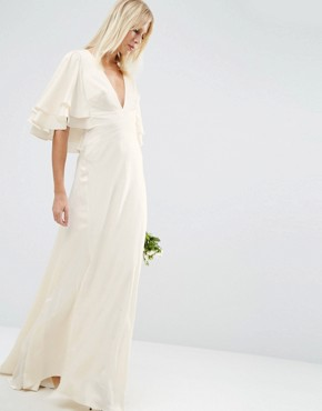 photo Flutter Sleeve Panelled Maxi Dress by ASOS BRIDAL, color White - Image 1