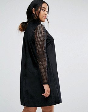 photo Velvet Swing Dress With Lace Sleeves by Club L Plus, color Black - Image 2