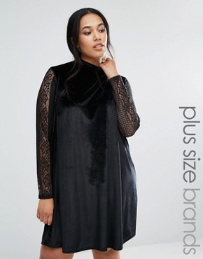 photo Velvet Swing Dress With Lace Sleeves by Club L Plus, color Black - Image 1