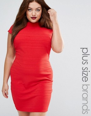 photo Bandage Dress with Cap Sleeve by Club L Plus, color Red - Image 1