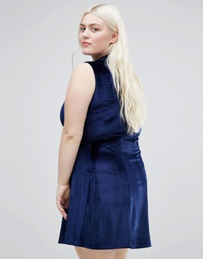 photo Velvet Skater Dress With High Neck by Club L Plus, color Navy - Image 2