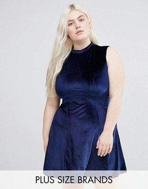 photo Velvet Skater Dress With High Neck by Club L Plus, color Navy - Image 1