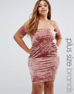 photo Crushed Velvet Bardot Mini Dress by Missguided Plus, color Pink - Image 1