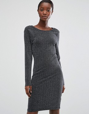 photo Silver Lurex Dress with Cowl Back by b.Young, color Silver - Image 2