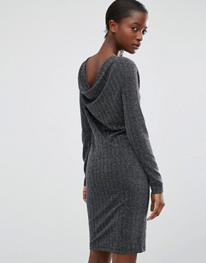 photo Silver Lurex Dress with Cowl Back by b.Young, color Silver - Image 1