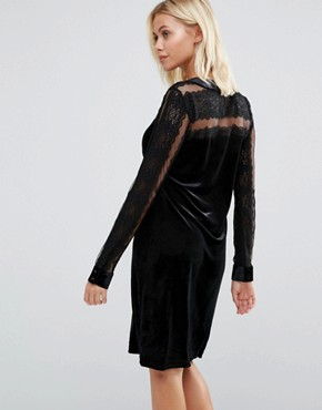 photo Velvet Dress with Lace Yoke and Arms by b.Young, color Black - Image 2