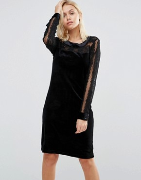 photo Velvet Dress with Lace Yoke and Arms by b.Young, color Black - Image 1