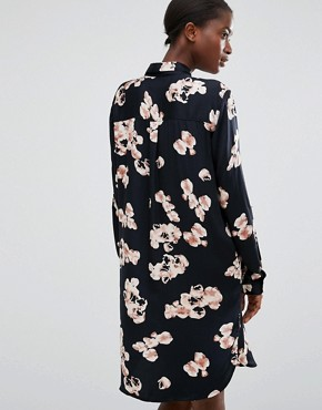 photo Floral Print Shirt Dress by b.Young, color Black - Image 2