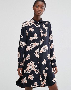 photo Floral Print Shirt Dress by b.Young, color Black - Image 1