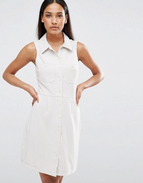 photo Ribbed Sleeveless Shirt Dress With Pocket Detail by AX Paris, color Stone - Image 1