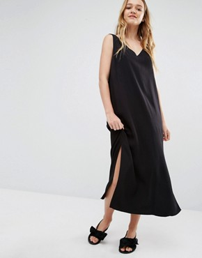photo Midi Collum Dress with Cross Back by Weekday, color Black - Image 2
