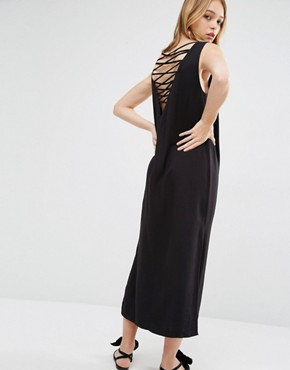 photo Midi Collum Dress with Cross Back by Weekday, color Black - Image 1