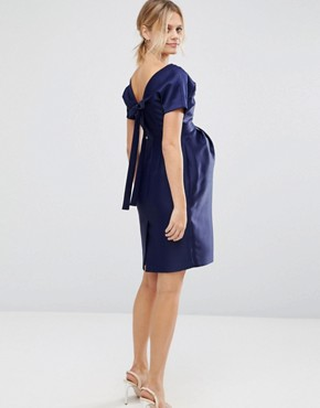 photo Dress with Bow Back by ASOS Maternity, color Navy - Image 2