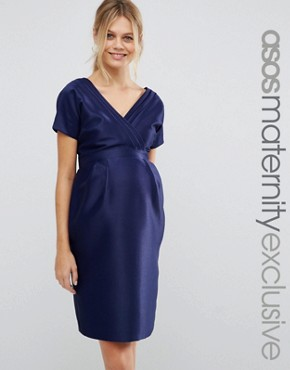 photo Dress with Bow Back by ASOS Maternity, color Navy - Image 1