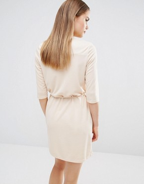 photo Zip Front Belted Tunic Dress by AX Paris, color Nude - Image 2