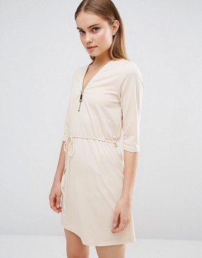 photo Zip Front Belted Tunic Dress by AX Paris, color Nude - Image 1