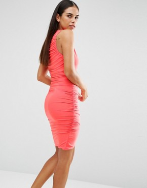 photo Sleeveless V Front Slinky Dress by AX Paris, color Coral - Image 2