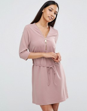 photo Zip Front Belted Tunic Dress by AX Paris, color Mauve - Image 1