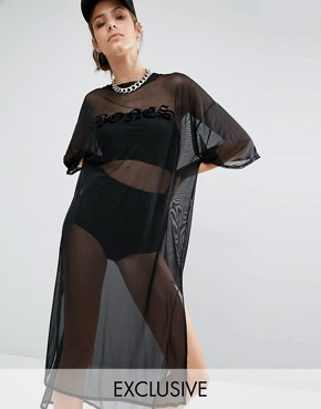 photo Oversized Boxy Sheer Mesh T-Shirt Dress by Bones, color Black - Image 1
