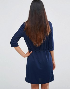 photo Zip Front Belted Tunic Dress by AX Paris, color Navy - Image 2