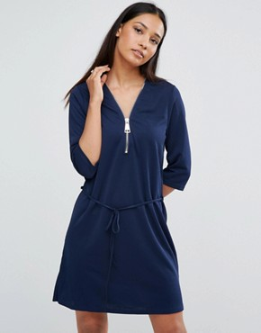 photo Zip Front Belted Tunic Dress by AX Paris, color Navy - Image 1