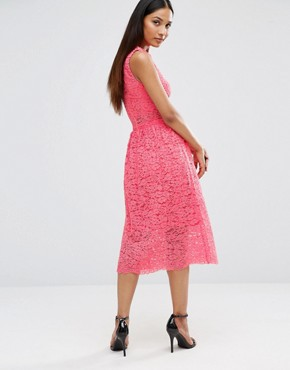 photo Sleeveless Lace Midi Dress With Cut Out Middle by AX Paris, color Coral - Image 2