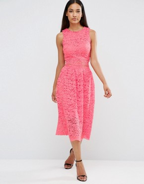 photo Sleeveless Lace Midi Dress With Cut Out Middle by AX Paris, color Coral - Image 1