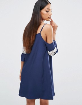 photo Cut Out Shoulder Swing Dress by AX Paris, color Navy - Image 2
