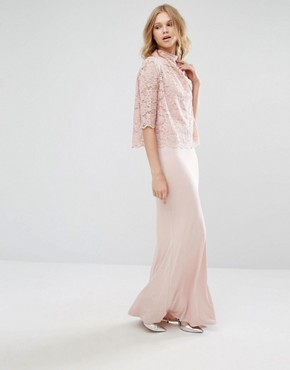 photo High Neck Lace Top Maxi Dress by Mango, color Pink - Image 2