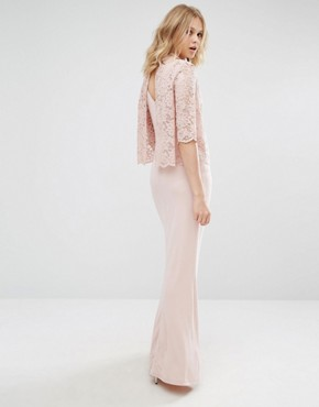 photo High Neck Lace Top Maxi Dress by Mango, color Pink - Image 1