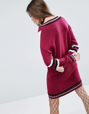 photo Blocked Jumper Dress With V Neck by ASOS, color Berry - Image 2