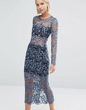photo Lace Open Back Midi Dress by Lavish Alice, color Petrol Blue - Image 2
