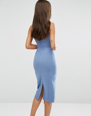 photo Metal Ring Plunge Detail Midi Dress by Lavish Alice, color Petrol Blue - Image 2
