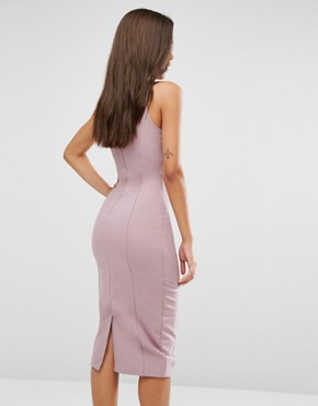 photo Metal Ring Plunge Detail Midi Dress by Lavish Alice, color Mauve - Image 2