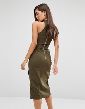 photo Collar Neck Tie Belt Midi Dress by Lavish Alice, color Khaki - Image 2