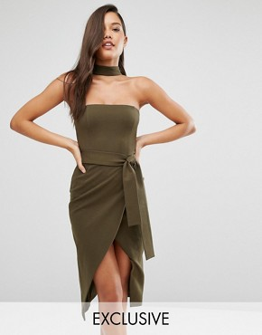 photo Collar Neck Tie Belt Midi Dress by Lavish Alice, color Khaki - Image 1