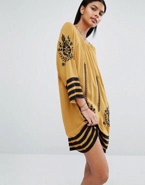 photo Embroidered Tunic Dress by Vila, color Brown - Image 1