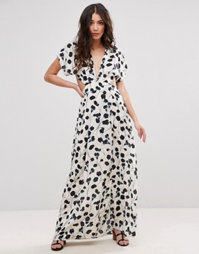photo Shadow Tulip Maxi Dress with Cut Outs by d.RA, color White - Image 2
