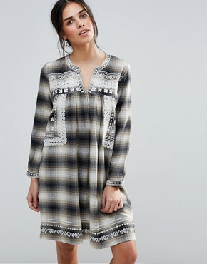 photo Shia Checked Dress with Embroidered Yoke by d.RA, color  - Image 1