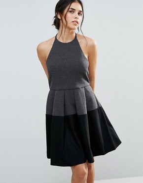 photo Aria Colourblock Dress by d.RA, color Charcoal/Black - Image 1