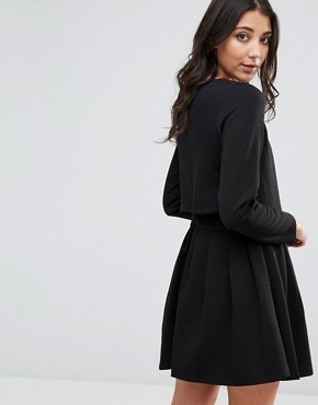 photo Alexa Blousson Skater Dress by d.RA, color Black - Image 2