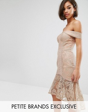 photo Off Shoulder Allover Lace Pencil Dress by Jarlo Petite, color Mushroom - Image 1