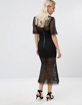 photo Cutwork Lace Overlay Midi Dress by Jarlo Petite, color Black - Image 2