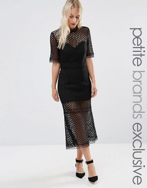 photo Cutwork Lace Overlay Midi Dress by Jarlo Petite, color Black - Image 1