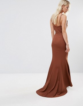 photo Strappy Maxi Dress with Waist Cutout Detail by Jarlo Petite, color Chocolate - Image 2