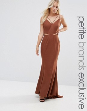 photo Strappy Maxi Dress with Waist Cutout Detail by Jarlo Petite, color Chocolate - Image 1