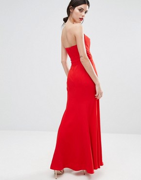 photo Helena Deep Sweetheart Plunge Front Maxi Dress by Jarlo Petite, color Red - Image 2