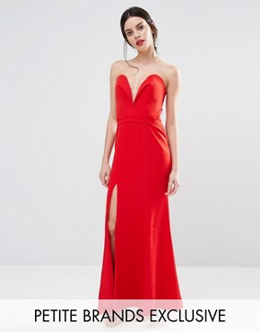 photo Helena Deep Sweetheart Plunge Front Maxi Dress by Jarlo Petite, color Red - Image 1