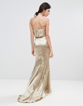 photo Blaze Overlay Maxi Dress by Jarlo Petite, color Gold - Image 2