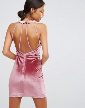 photo Velvet Bodycon Dress with Keyhole by Love & Other Things, color Pink - Image 1